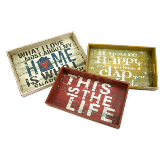 Set of 3 Antique-Style Distressed Happy Home and Life Serving Trays