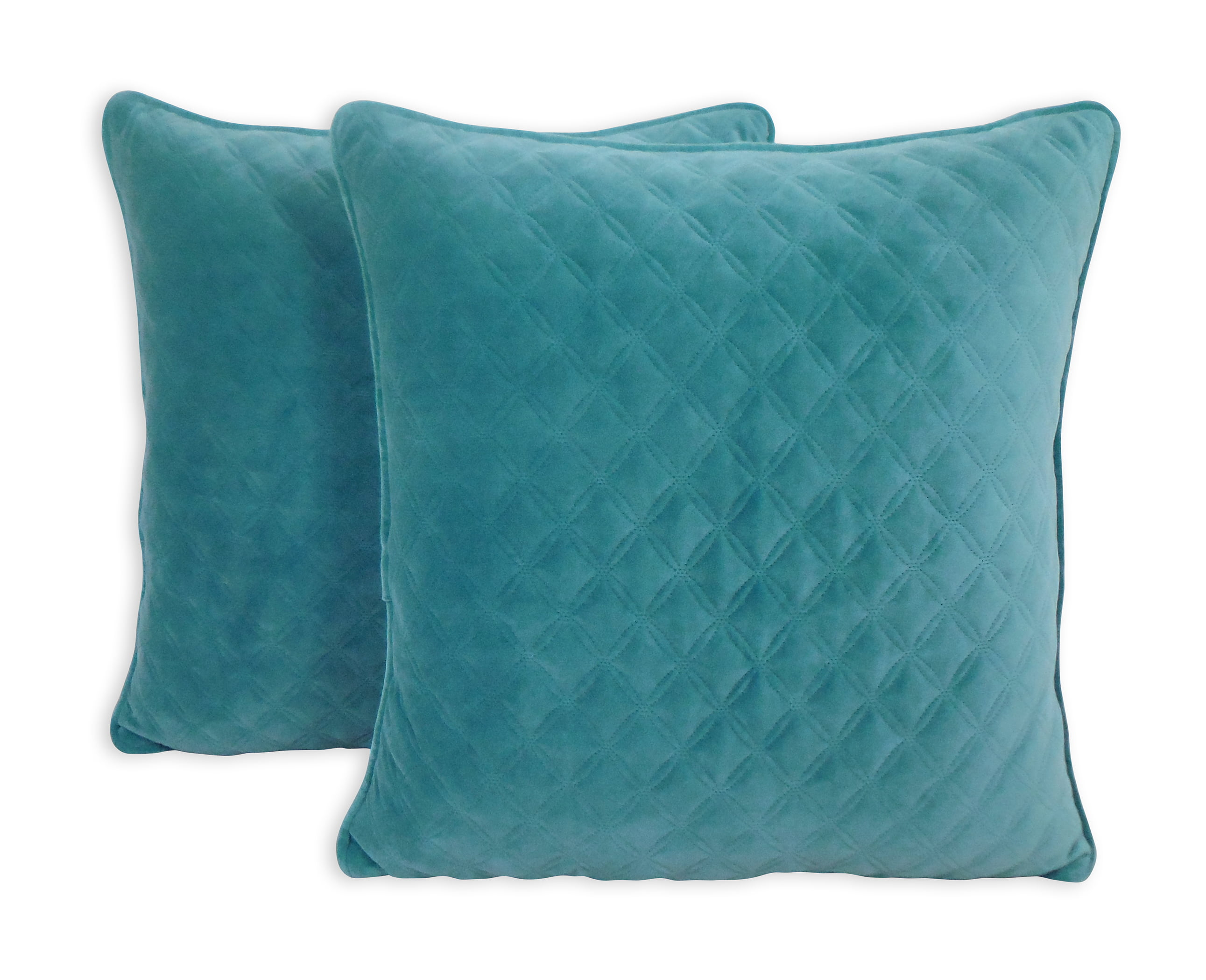 Better Homes and Gardens Quilted Velvet Decorative Throw Pillow, Teal, 2 pack by Arlee Home Fashions