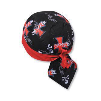 OTTO Cotton Poplin Biker Head Wrap - Design 004/Red