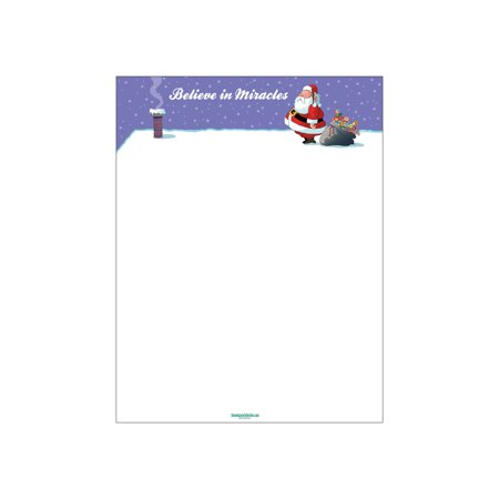 Believe In Miracles Christmas Letterhead - 80 Sheets Per Pack - Funny Holiday Stationery