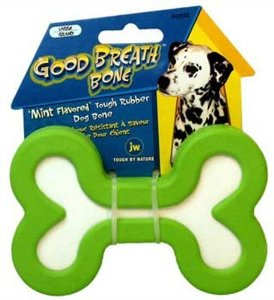 JW Pet Company Good Breath Bone Dog Toy, Large (Colors Vary) Multi-Colored