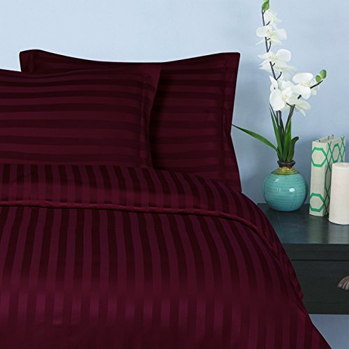 "Elegant Comfort® Wrinkle & Fade Resistant 1500 Thread Count - Damask STRIPES Silky Soft 4pc Sheet Set, Up To 16"" Deep Pocket, Queen, Burgundy"