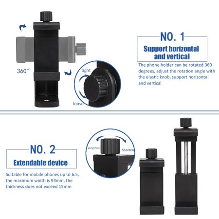 Phone Tripod Mount Clip Support Stand Vertical Horizontal Video Shooting - image 2 of 8