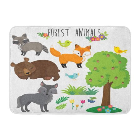 - GODPOK Green Bear Brown Fox Forest Animals Colorful Wolf Cartoon Rug Doormat Bath Mat 23.6x15.7 inch