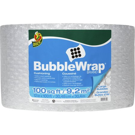 Duck Brand Large Bubble Wrap Cushioning, 12 in. x 100 ft., Clear