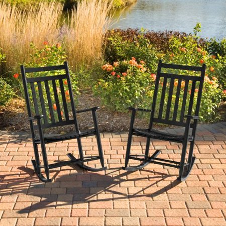 Dixie Seating Indoor/Outdoor Slat Rocking Chairs - Black - Set of 2 ...