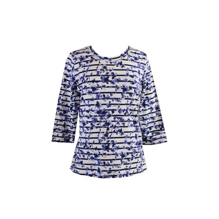 Karen Scott White Blue Striped Floral Print Top S
