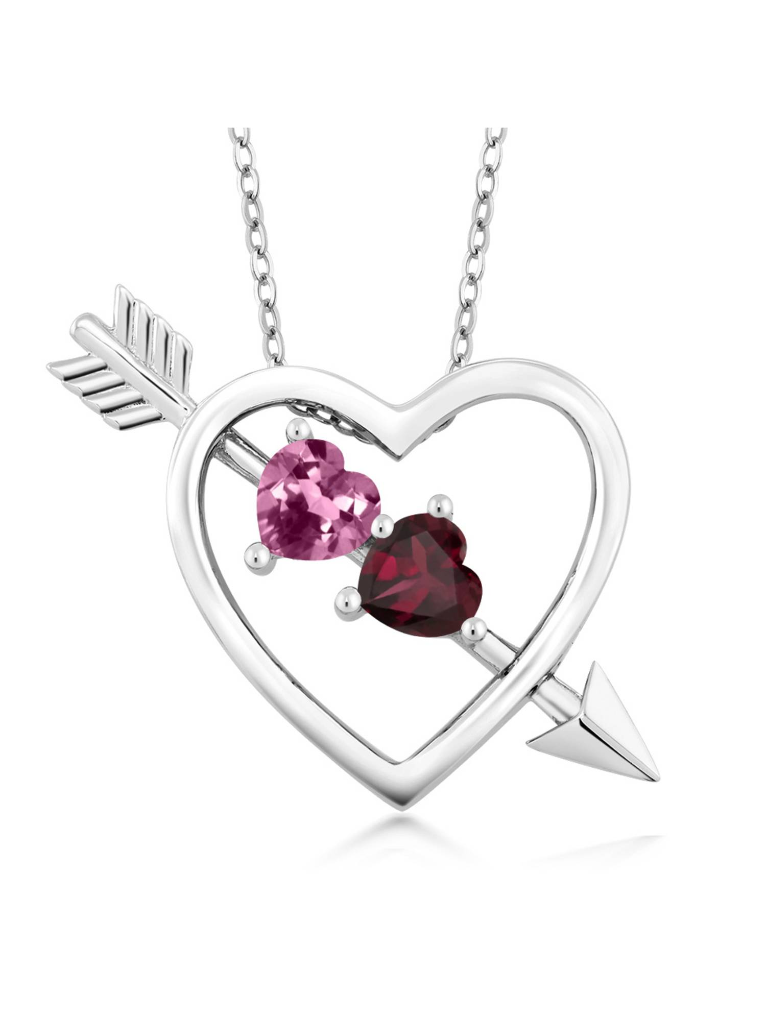 0.99 Ct Pink Tourmaline Red Rhodolite Garnet 925 Silver Heart and Arrow Pendant by