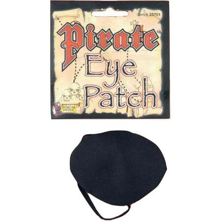 Black Satin Pirate Buccaneer Eye Patch Caribbean Elastic Band Costume Accessory