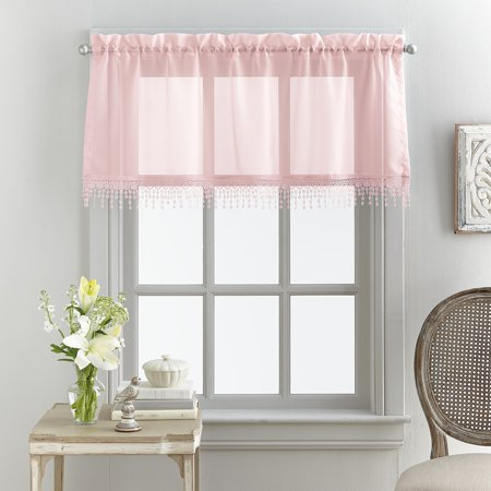 Mainstays Macrame Tailored Curtain Valance (Bobbi Brown Sheer Finish)
