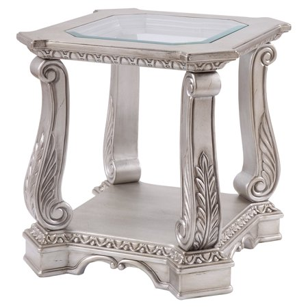 Acme Northville End Table in Antique Silver and Clear Glass ()