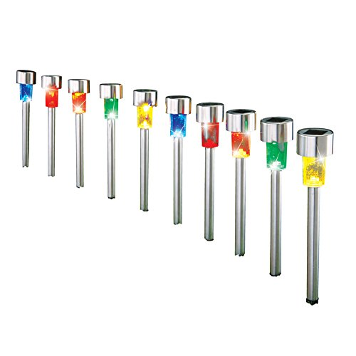 Solar Led Stainless Steel Pathway Lights - 10 Pc