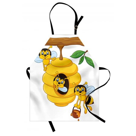 Nursery Apron Branch of Tree with Beehive and Bees Honey Funny Insect Hardworking Mascot, Unisex Kitchen Bib Apron with Adjustable Neck for Cooking Baking Gardening, Yellow Brown Green, by Ambesonne Honey Bee Baby Nursery