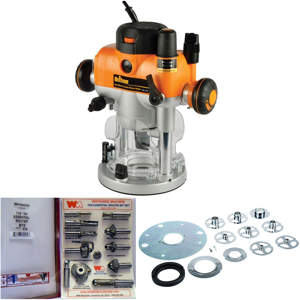 Triton TRA001 3-1/4hp Plunge Router w/ Template Kit & Whiteside Essential Router Bit Set