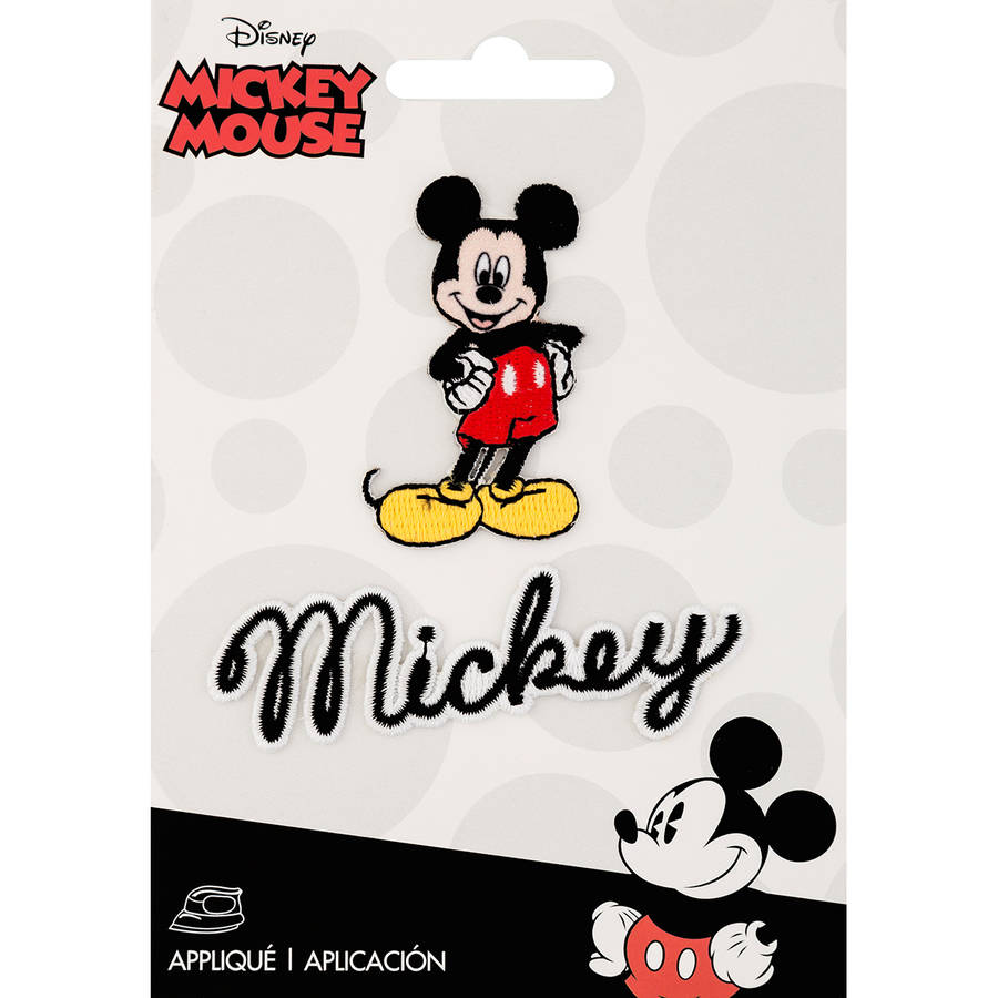Disney Mickey Mouse Iron-On Applique, Mickey Mouse Body with Script