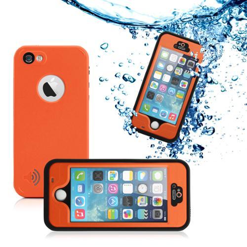 GEARONIC Durable Waterproof Shockproof Snow DirtProof Fingerprint Scanner Full Case Cover for Apple iPhone SE & 5 5S - Orange
