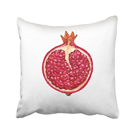 WinHome Red Lifelike Watercolor Pomegranate Section Decorative Pillowcases With Hidden Zipper Decor Cushion Covers Two Sides 18x18 inches
