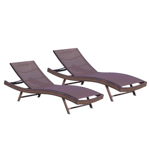 Denise Austin Home Burnham Outdoor Brown Mesh Chaise Lounge Chair (Set of 2)