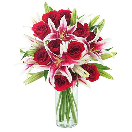 KaBloom: Fresh Flowers - Bouquet of 12 Red Roses, 5 Stargazer Lilies in a Glass (Love Fresh Flowers)