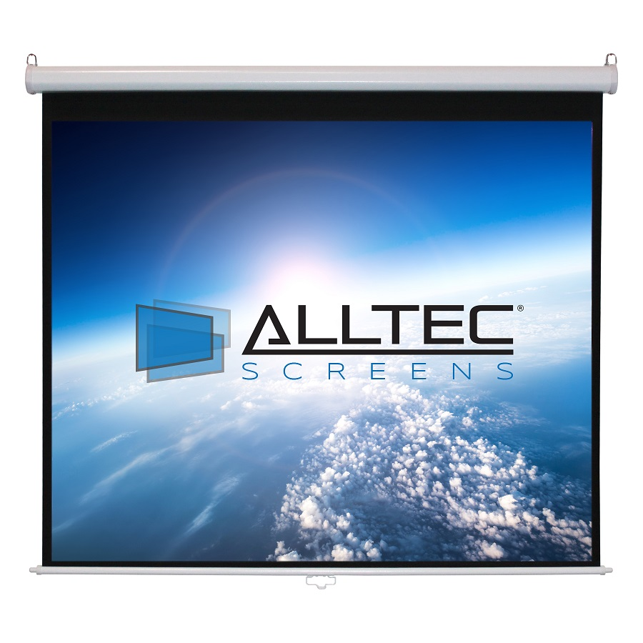 "Alltec 92"" Diag. (45x80) Manual Projector Screen, HDTV Format, Matte White Fabric - White"