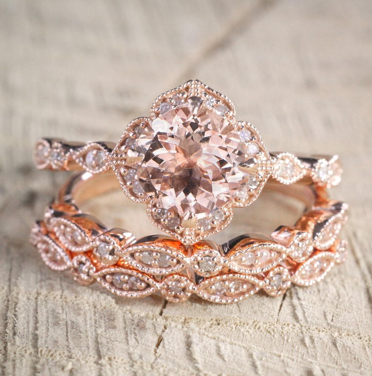 2 carat Morganite and Diamond Trio Wedding Bridal Ring Set in 10k Rose Gold with One Engagement Ring and 2 Wedding Bands by JeenJewels