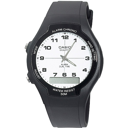 Casio Men's AW-90H-7BV Black Rubber Quartz with White Dial Watch