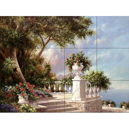 Ceramic Tile Mural - Balcony At Lake Como - by Art Fronckowiak - Kitchen backsplash / Bathroom shower Accent Ceramic Tile Mural Art