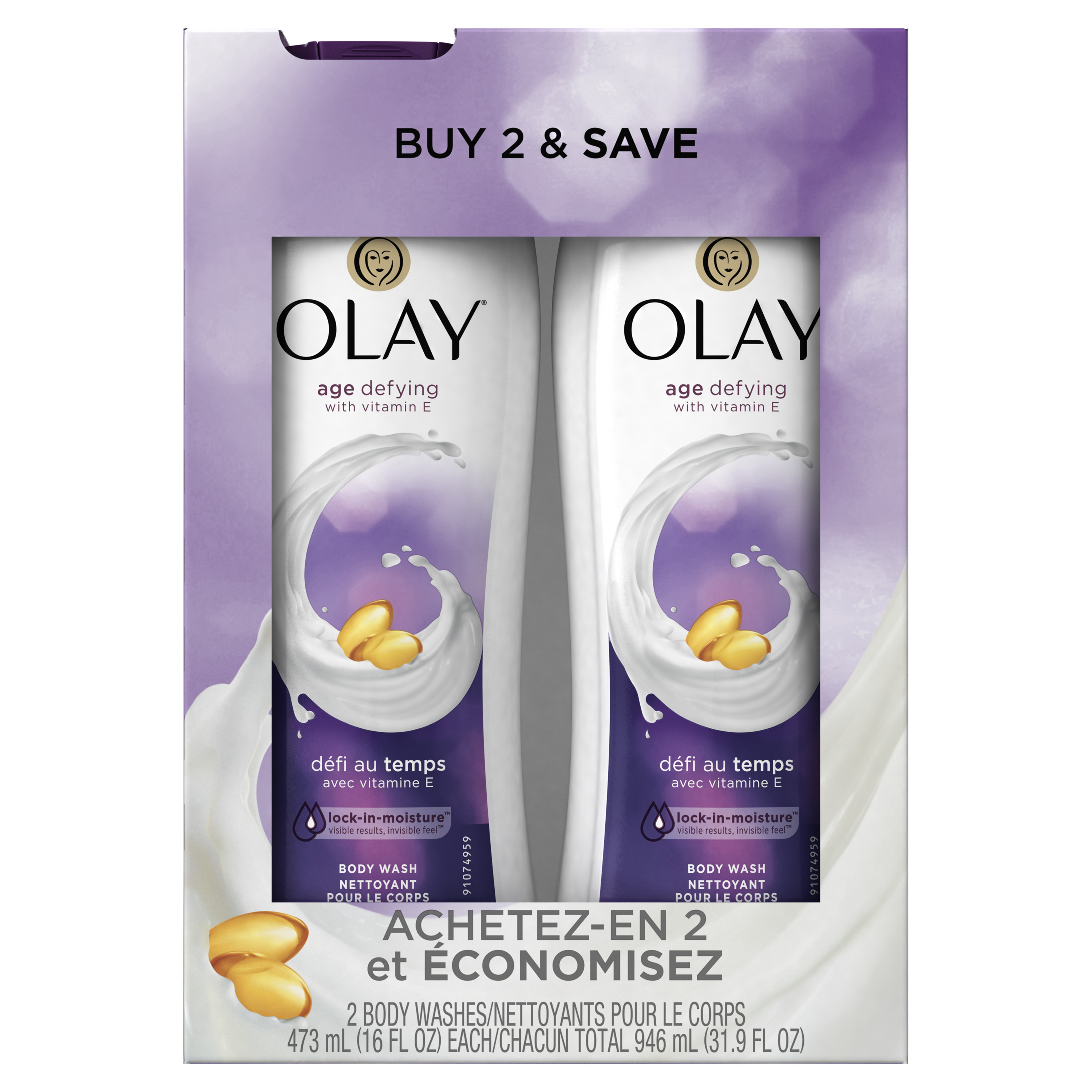 Olay Age Defying Body Wash with Vitamin E, 2x16 oz (Twin Pack)