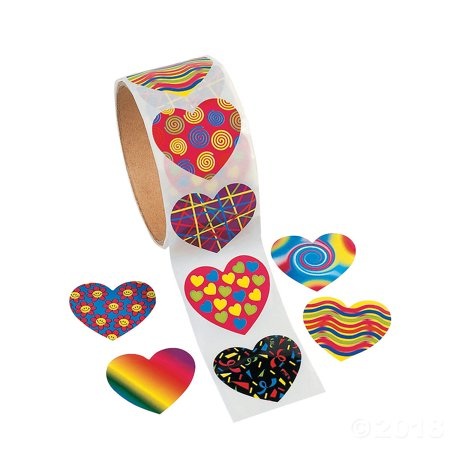 2 Roll of 100 Fun Express Funky Heart Roll Stickers bundled by Maven Gifts](Rolls Of Stickers)