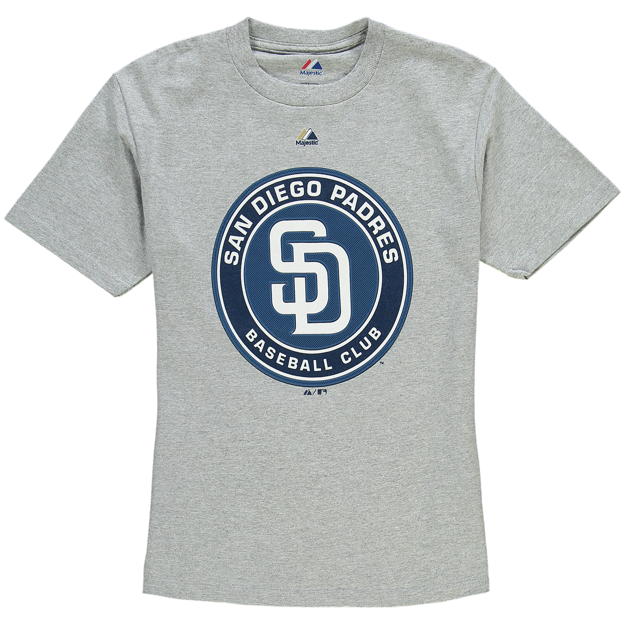 San Diego Padres Majestic Youth Soft Density Logo T-Shirt - Heathered Grey