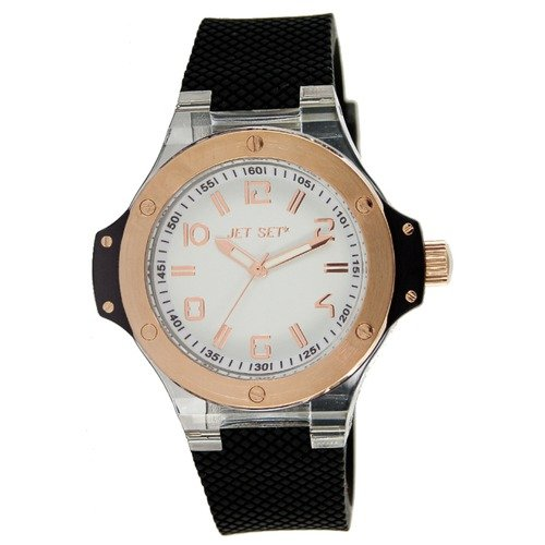 Jet Set Cannes Men's Watch with Black Band and Rose Gold Bezel