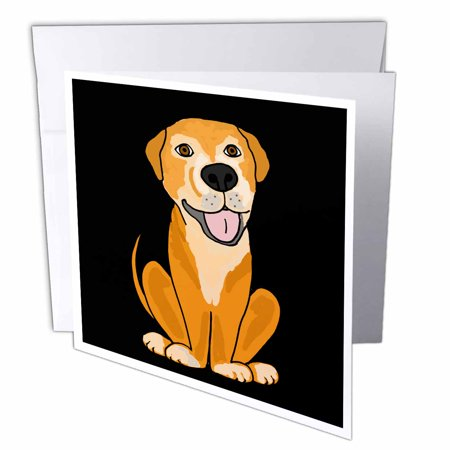 3dRose Funny Lab Mix Rescue Dog Cartoon, Greeting Cards, 6 x 6 inches, set of 12