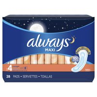 Always Maxi, Size 4, Overnight Pads Wingless, Unscented, 28 Ct