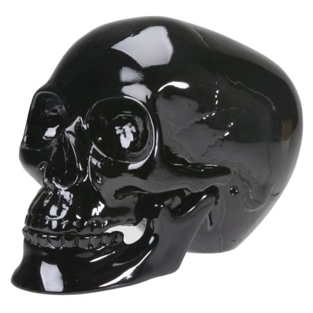 Glossy Black Human Skull Halloween Figurine Gothic Skeleton Decoration - Gothic Halloween Decorations