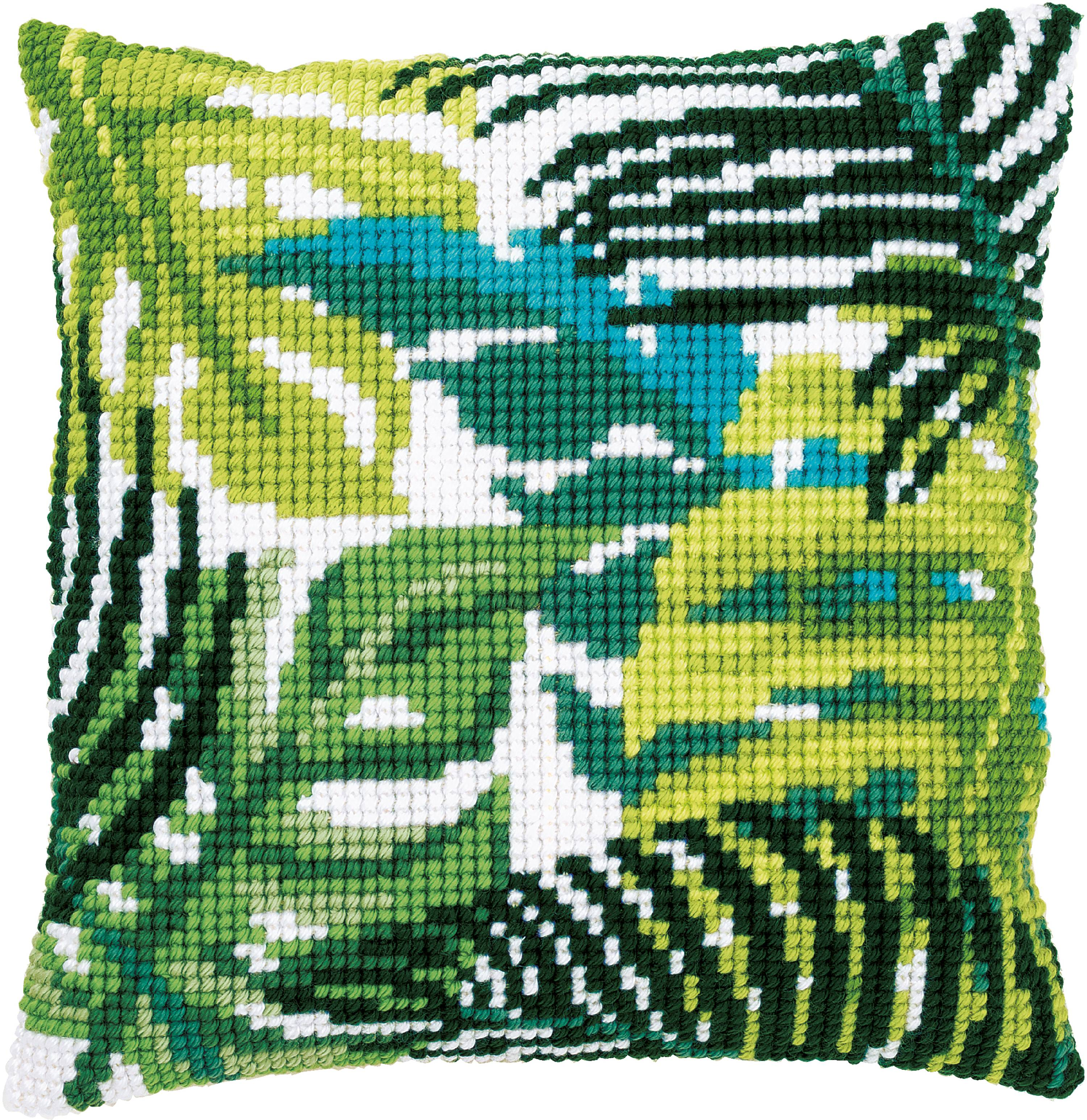 """Vervaco Needlepoint Custhion Top Kit 16""""X16""""-Botanical Leaves II Stitched In Yarn"""