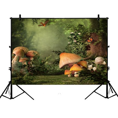 GCKG 7x5ft Fantasy Forest with Mushroom and Stump Magic Fairy Polyester Photography Backdrop Photography Props Studio Photo Booth Props - image 4 de 4
