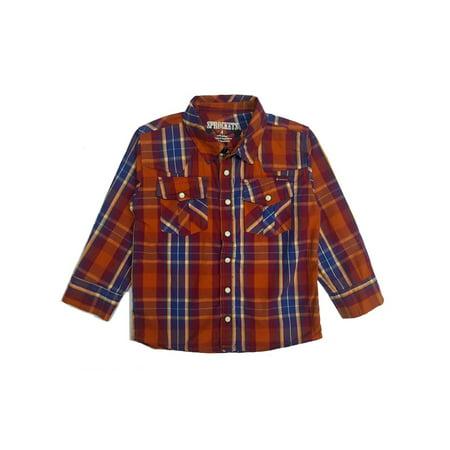 Sprockets Baby Boys Orange Plaid Casual Western Long Sleeve Shirt