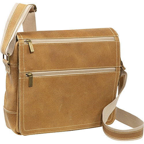 David King & Co. Double Zip Distressed Leather Small Messenger