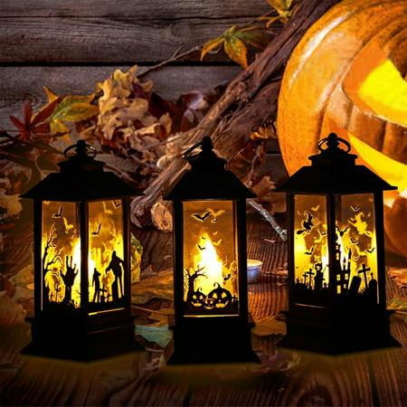 Obstce Halloween Decorative LED Lamp Castle Pumpkin Graveyard Spooky Bar Party - Halloween Graveyard Drawings