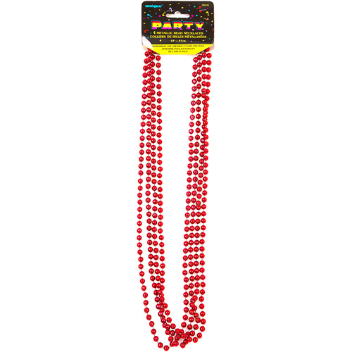 Red Bead Necklaces, 4pk