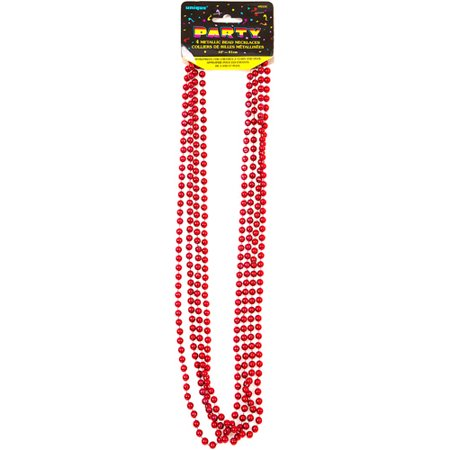 Mardi Gras Beads, 32 in, Red, 4ct for $<!---->