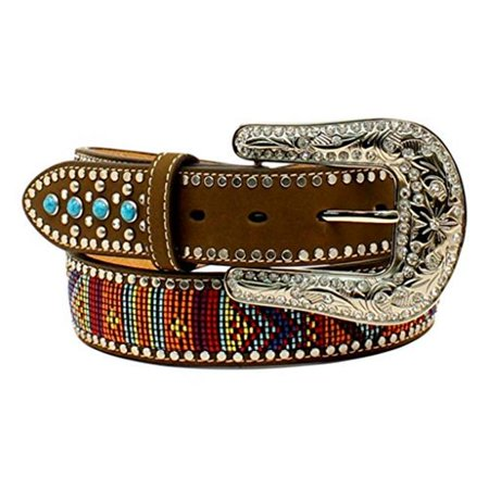 1.5 in. Western Womens Turquoise Stone Belt with Beaded Embroidery, Multi Colored - Small Turquoise Beaded Belt