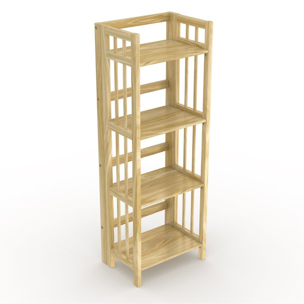 "No Assembly Folding Bookcase, 4 Shelves, Media Cabinet Storage Unit, for Home & Office, Natural 16"" Wide."