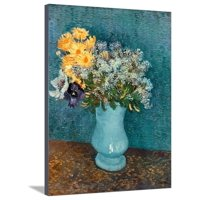 Vase of Lilacs, Daisies and Anemones, c.1887 Flowers Still Life Stretched Canvas Print Wall Art By Vincent van Gogh