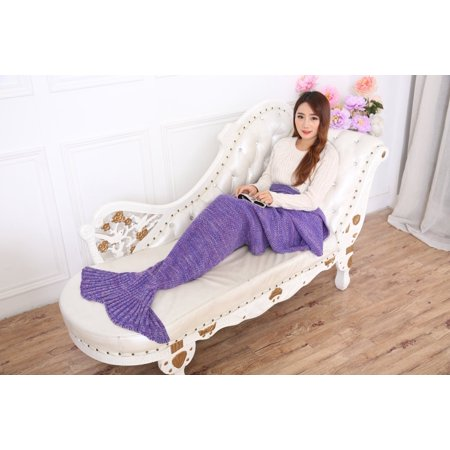 E-Joy Mermaid Tail Blanket, Mermaid Crochet Knitting Blanket, Best Birthday Christmas gift Blanket Handmade Living Room Sleeping Blanket-MB_Adult_Purple 71x36 inch ()