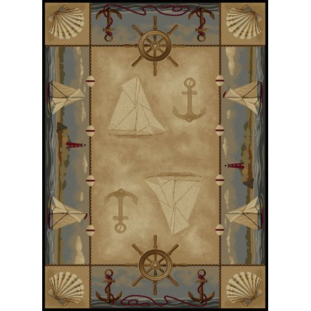 Tayse Nature Area Rugs - 6582 Transitional Casual Beige Boats Sailing Anchors Seashells Rug
