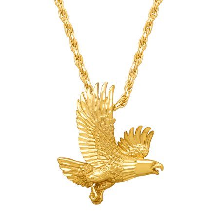 Men's Bald Eagle Pendant Necklace in 14kt Gold-Plated Sterling Silver