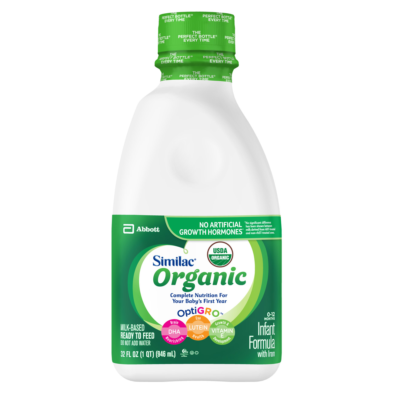 Similac Organic Infant Formula with Iron, Ready to Feed, 1 qt