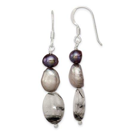 925 Sterling Silver Tourmalinated Quartz Grey Freshwater Cultured Pearl Drop Dangle Chandelier Earrings For Women