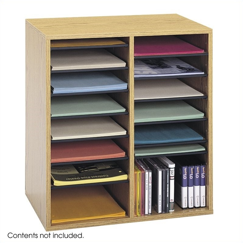 Scranton & Co Medium Oak 16 Compartment Wood Adjustable File Organizer